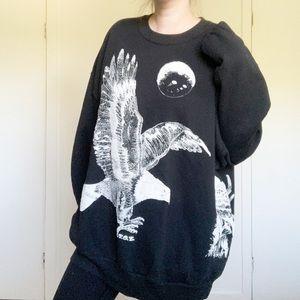 Vintage eagle print crewneck sweatshirt oversized